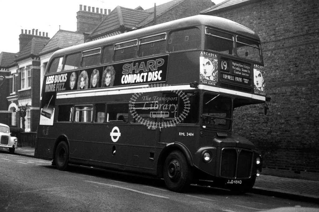 London Transport AEC Routemaster RML2484 JJD484D  on route 19  in 1980s - JGS Smith