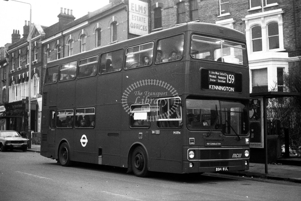 London Transport MCW Metrobus M1094 B94WUL  on route 159  in 1980s - JGS Smith