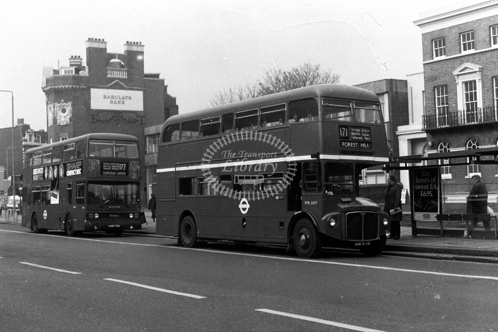 London Transport AEC Routemaster RML2577 JJD577D  on route 171  in 1980s - JGS Smith