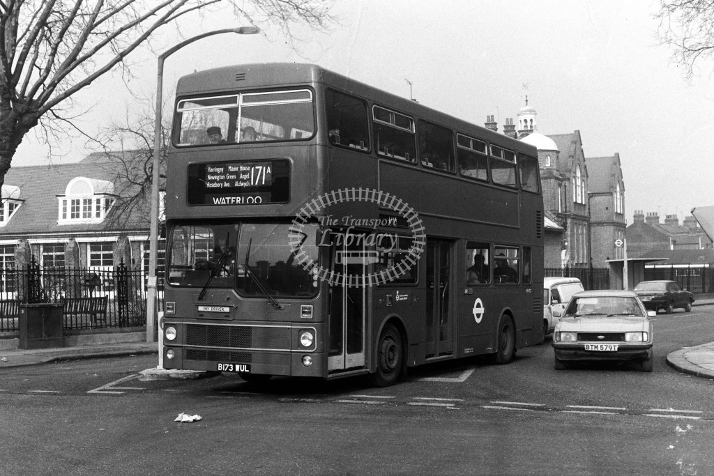London Transport MCW Metrobus M1173 B173WUL  on route 171A  in 1980s - JGS Smith