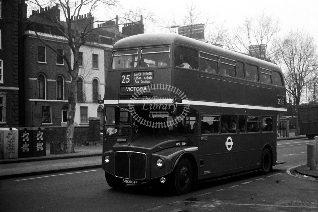London Transport AEC Routemaster RML2664 SMK664F  on route 25  in 1980s - JGS Smith