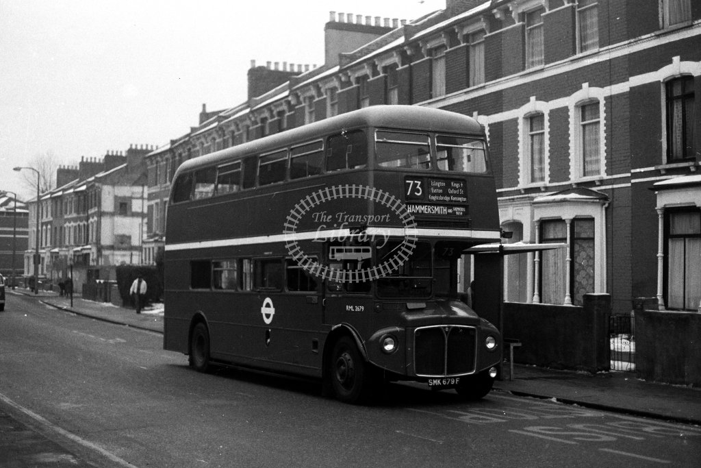 London Transport AEC Routemaster RML2679 SMK679F  on route 73  in 1980s - JGS Smith