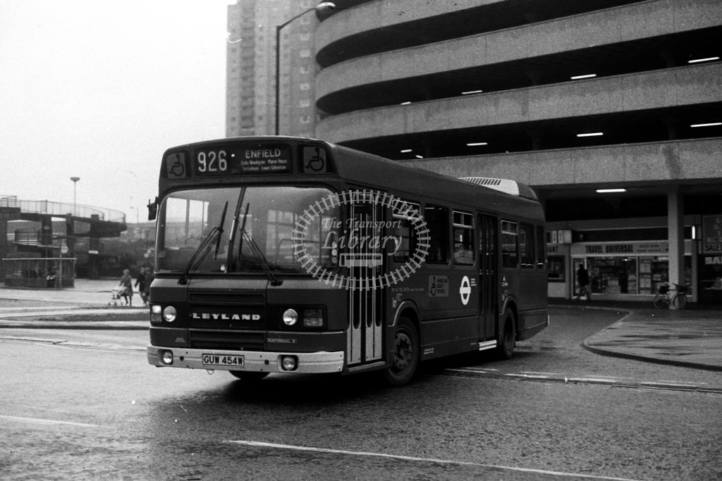 London Transport Leyland National LS454 GUW454W  on route 926  at Edmonton  in 1980s - JGS Smith