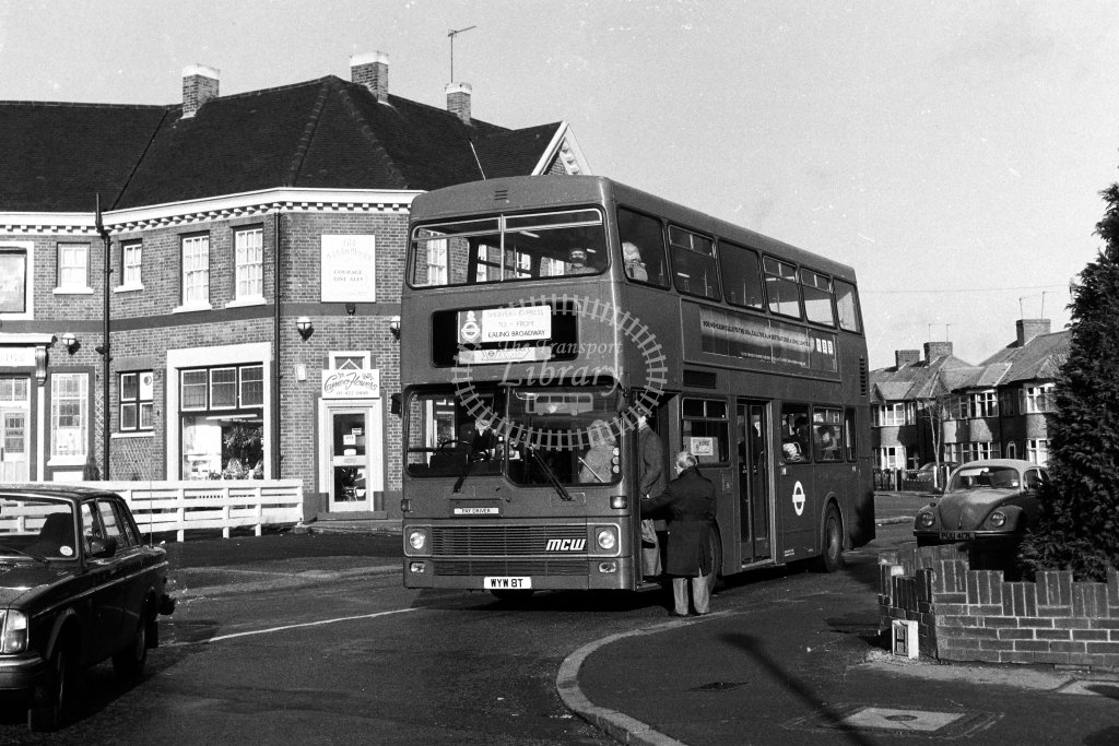 London Transport MCW Metrobus M8 WYW8T  at Northolt Park  in 1980s - JGS Smith