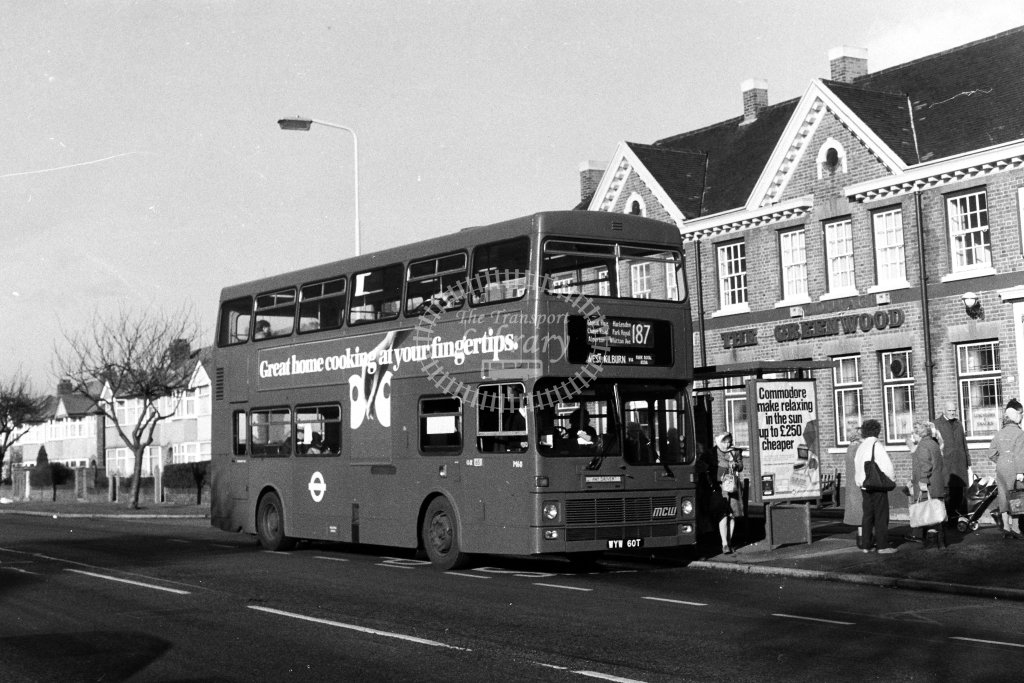 London Transport MCW Metrobus M60 WYW60T  on route 187  at Northolt Park  in 1980s - JGS Smith