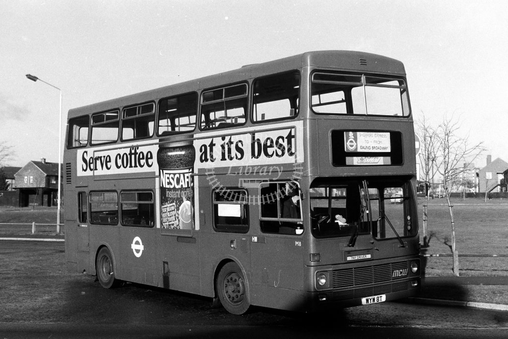 London Transport MCW Metrobus M8 WYW8T  at Northolt  in 1980s - JGS Smith