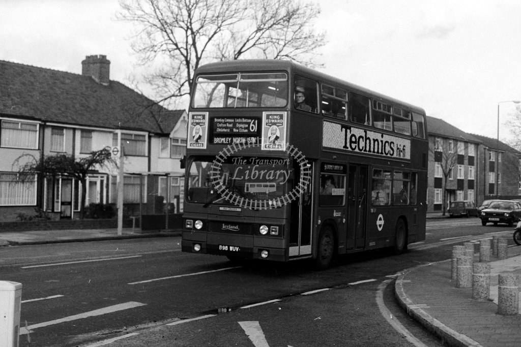 London Transport Leyland Titan T1098 B98WUV  on route 61  in 1980s - JGS Smith