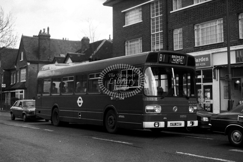 London Transport Leyland National LS348 AYR348T  on route B1  in 1980s - JGS Smith
