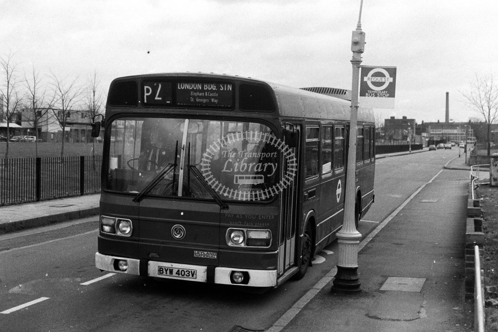 London Transport Leyland National LS403 BYW403V  on route P2  in 1980s - JGS Smith