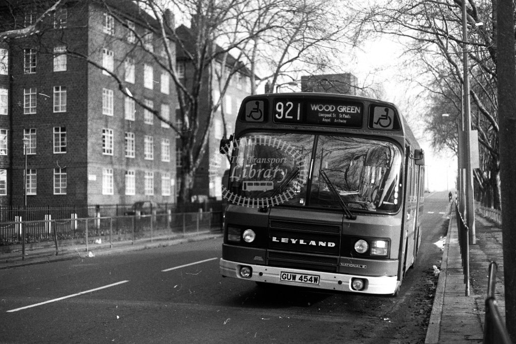 London Transport Leyland National LS454 GUW454W  on route 921  in 1980s - JGS Smith