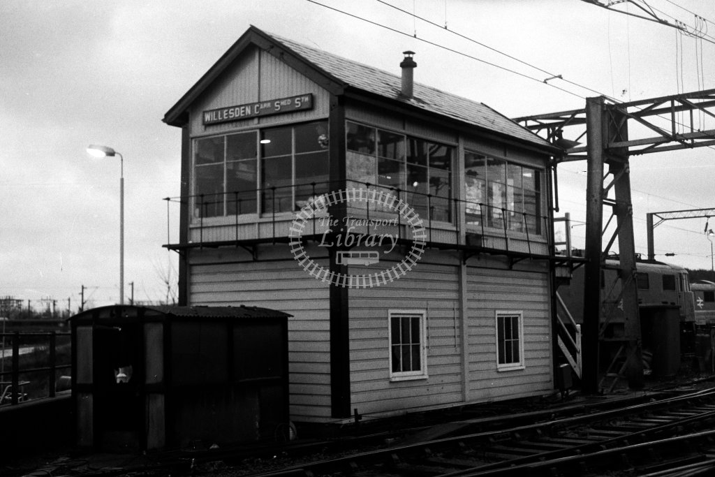 British Rail Signal Box  at Willesden Carriage Shed South  in 1980s - JGS Smith