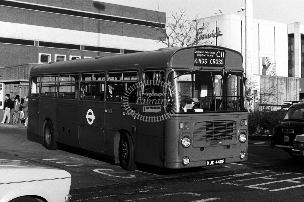 London Transport Bristol LH BL40 KJD440P  on route C11  at Brent Cross  in 1980s - JGS Smith