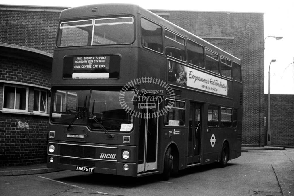 London Transport MCW Metrobus M967 A967SYF  at Hounslow  in 1980s - JGS Smith