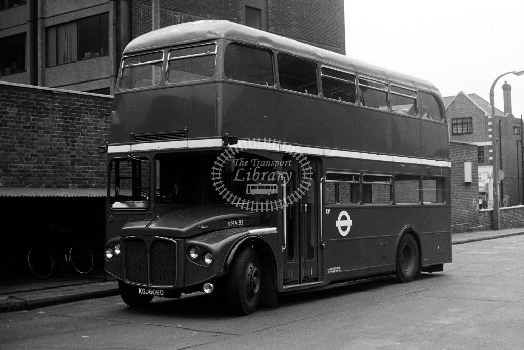 London Transport AEC Routemaster RMA32 KGJ606D  at Hounslow  in 1980s - JGS Smith