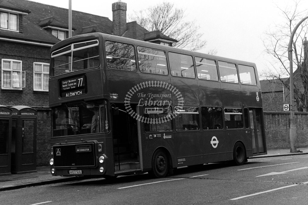 London Transport Volvo B55 V3 A103SUU  on route 77  in 1980s - JGS Smith