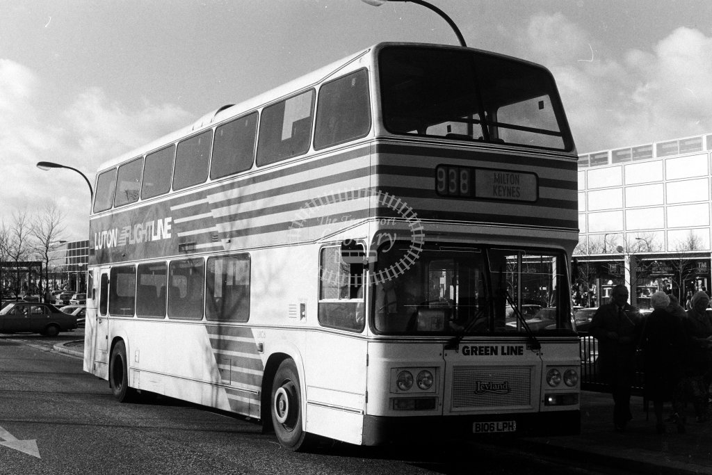 London Country Leyland Olympian LRC6 B106LPH  on route 938  at Milton Keynes  in 1980s - JGS Smith