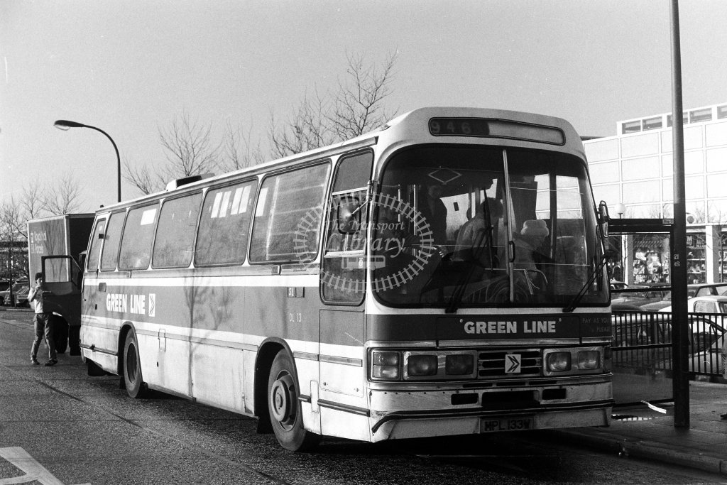 London Country Leyland Leopard DL13 MPL133W  on route 946  at Milton Keynes  in 1980s - JGS Smith