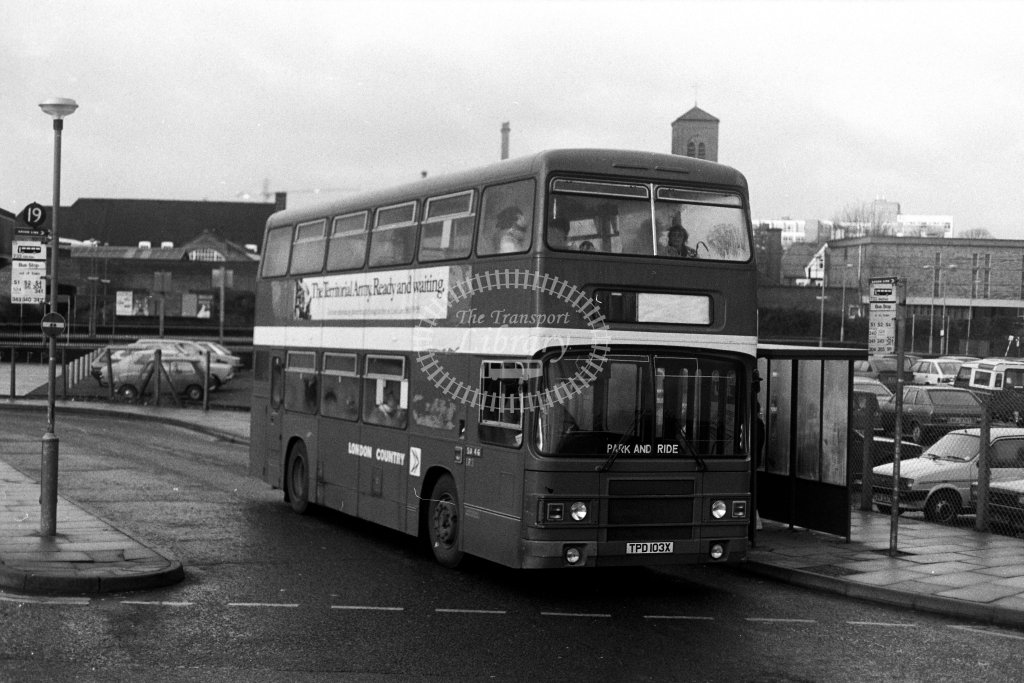London Country Leyland Olympian LR3 TPD103X  at St Albans  in 1980s - JGS Smith
