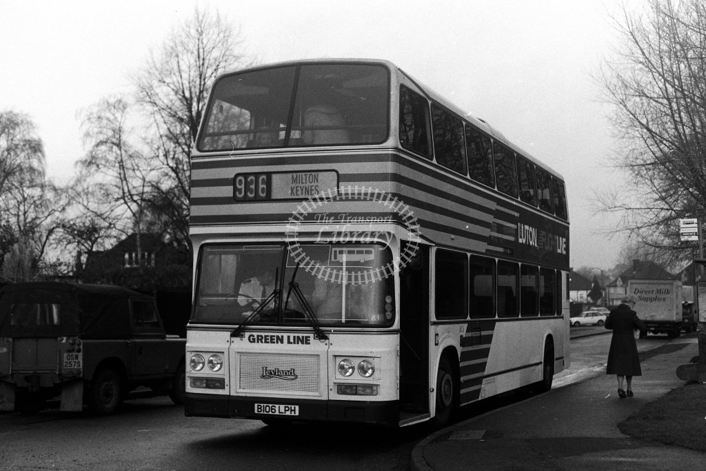 London Country Leyland Olympian LRC6 B106LPH  on route 936  in 1980s - JGS Smith