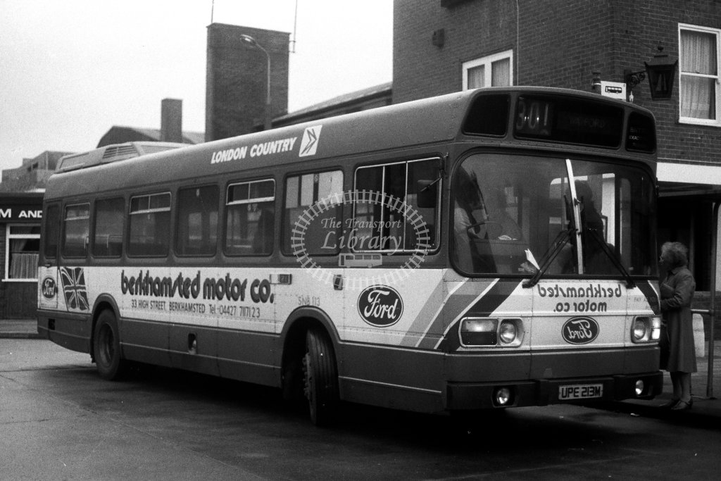 London Country Leyland National SNB113 UPE213M  on route 301  at Hemel Hempstead  in 1980s - JGS Smith