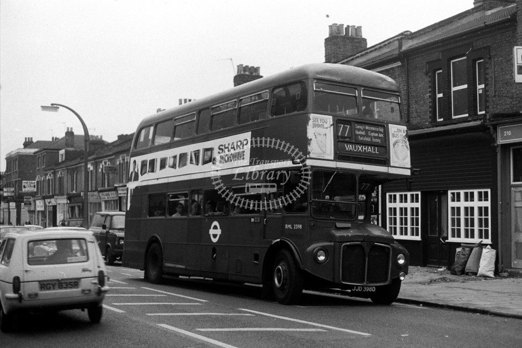 London Transport AEC Routemaster RML2398 JJD398D  on route 77  in 1980s - JGS Smith