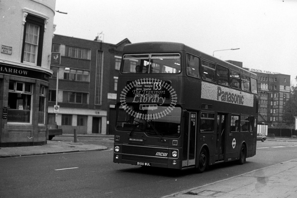 London Transport MCW Metrobus M1100 B100WUL  on route 133  at Elephant & Castle  in 1980s - JGS Smith