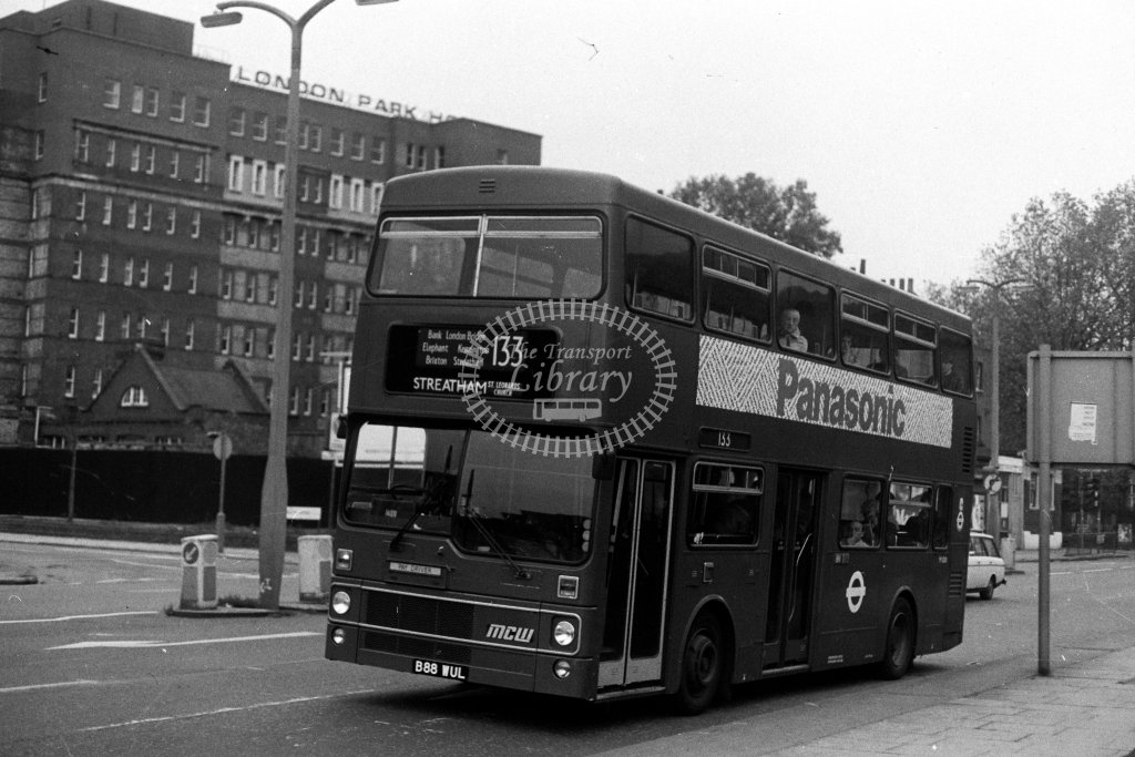 London Transport MCW Metrobus M1088 B88WUL  on route 133  at Elephant & Castle  in 1980s - JGS Smith