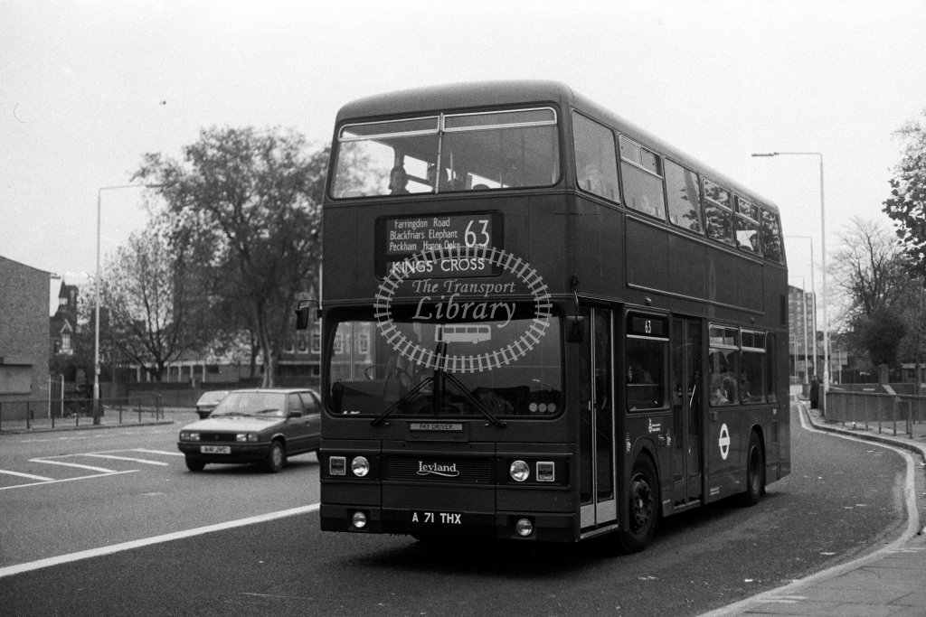 London Transport Leyland Titan T1071 A71THX  on route 63  in 1980s - JGS Smith
