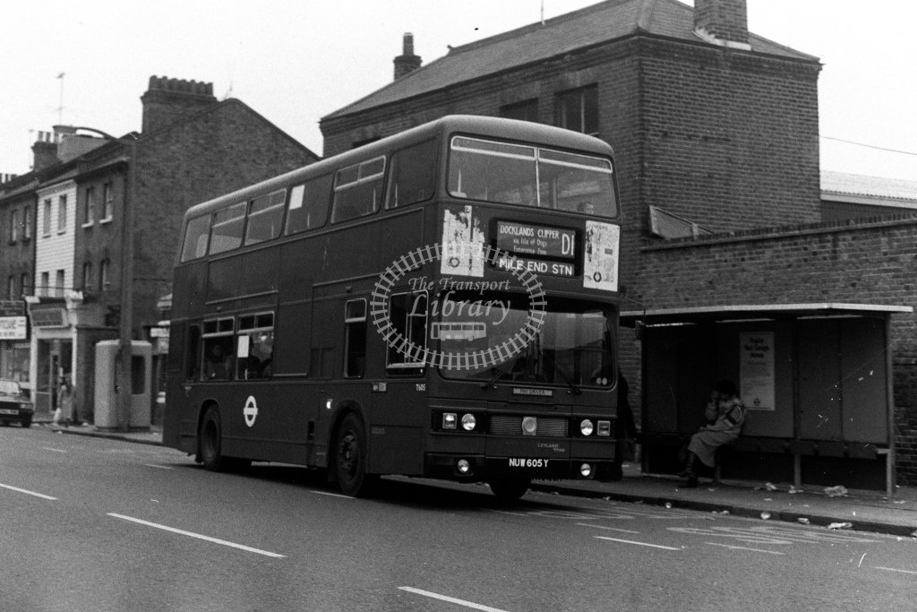 London Transport Leyland Titan T605 NUW605Y  on route D1  in 1980s - JGS Smith