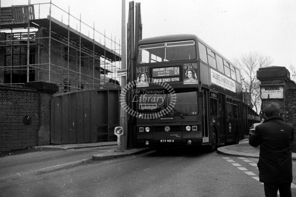 London Transport Leyland Titan T401 KYV401X  on route D1  at Isle Of Dogs  in 1980s - JGS Smith