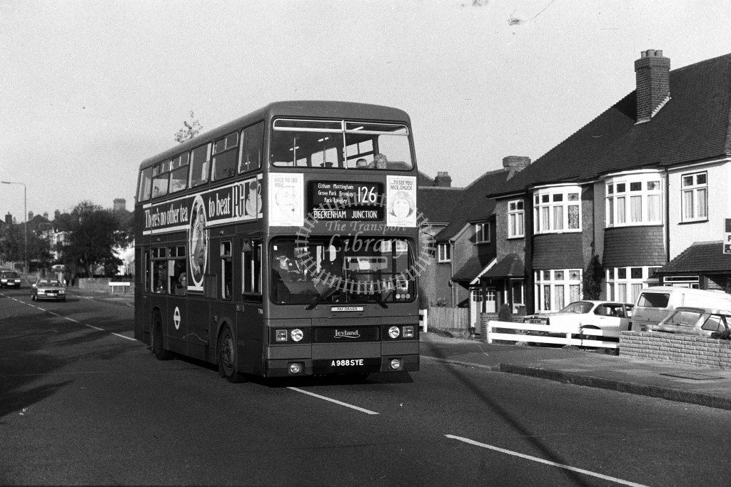 London Transport Leyland Titan T988 A988SYE  on route 126  in 1980s - JGS Smith