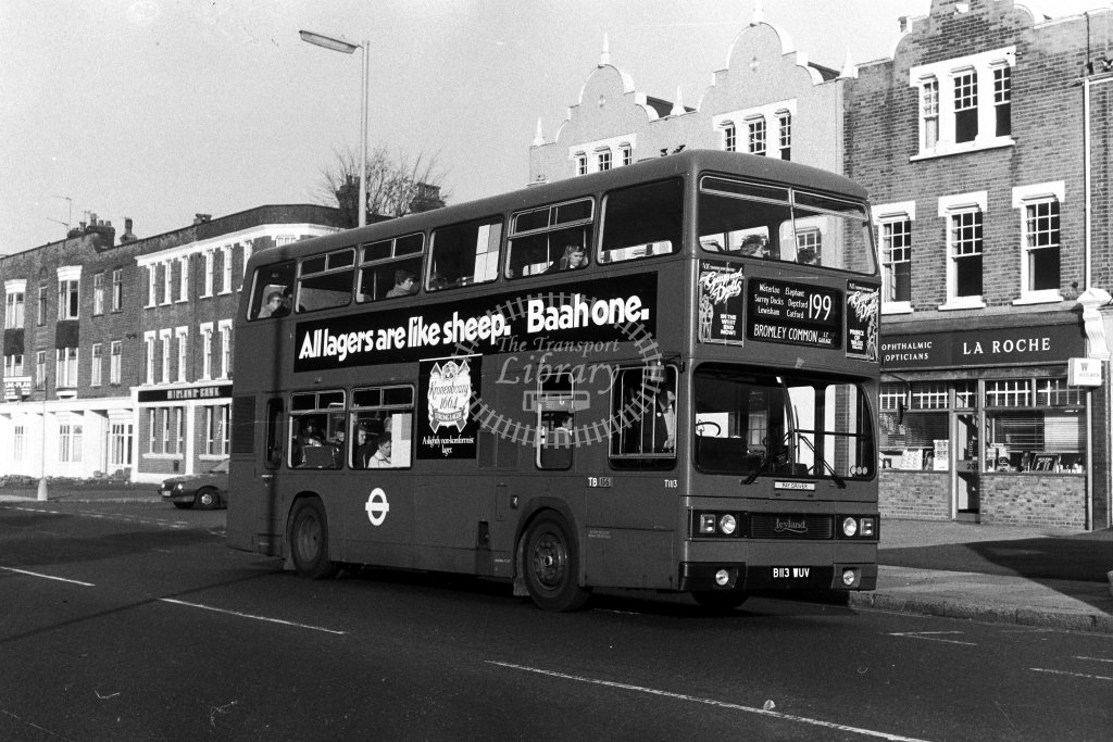 London Transport Leyland Titan T1113 B113WUV  on route 199  in 1980s - JGS Smith