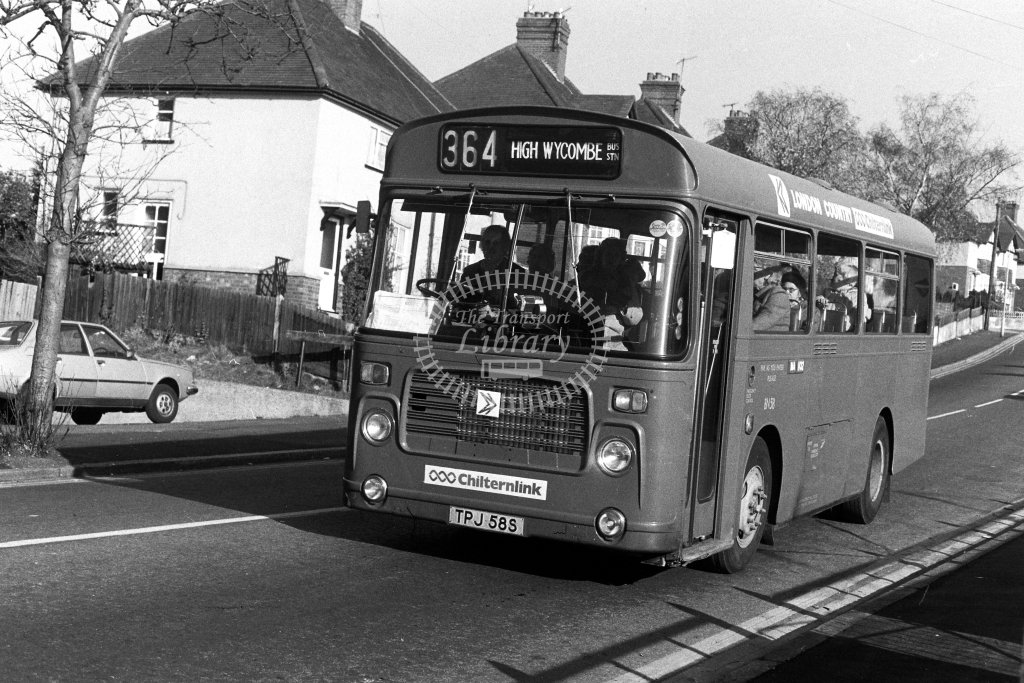 London Country Bristol LH BN58 TPJ58S  on route 364  at High Wycombe  in 1980s - JGS Smith