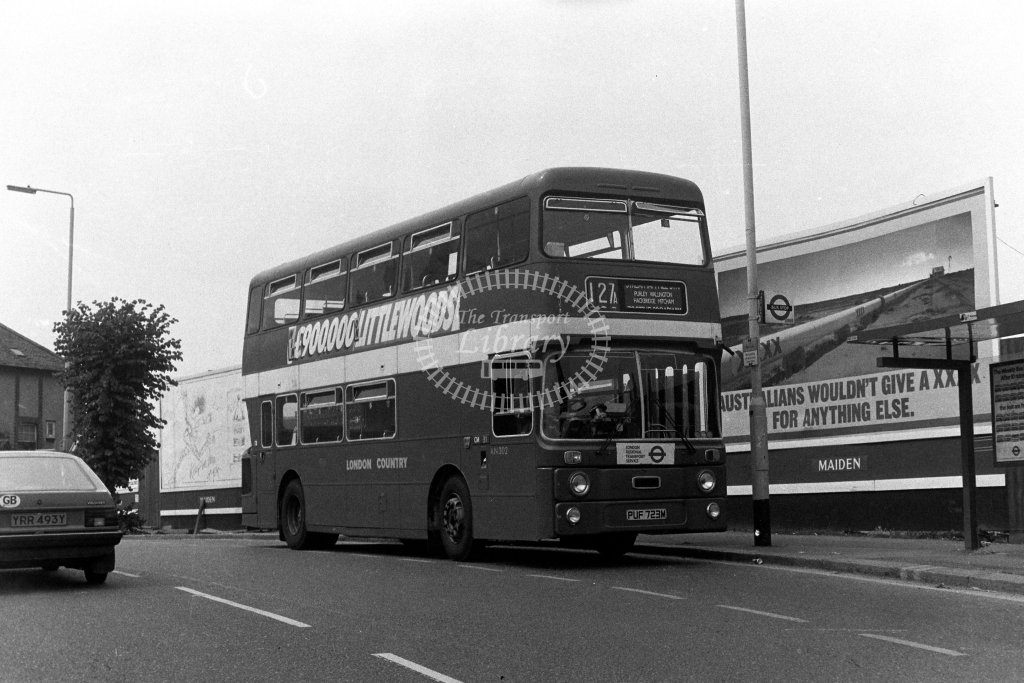 London Country Leyland Atlantean AN302 PUF723M  on route 127A  in 1980s - JGS Smith