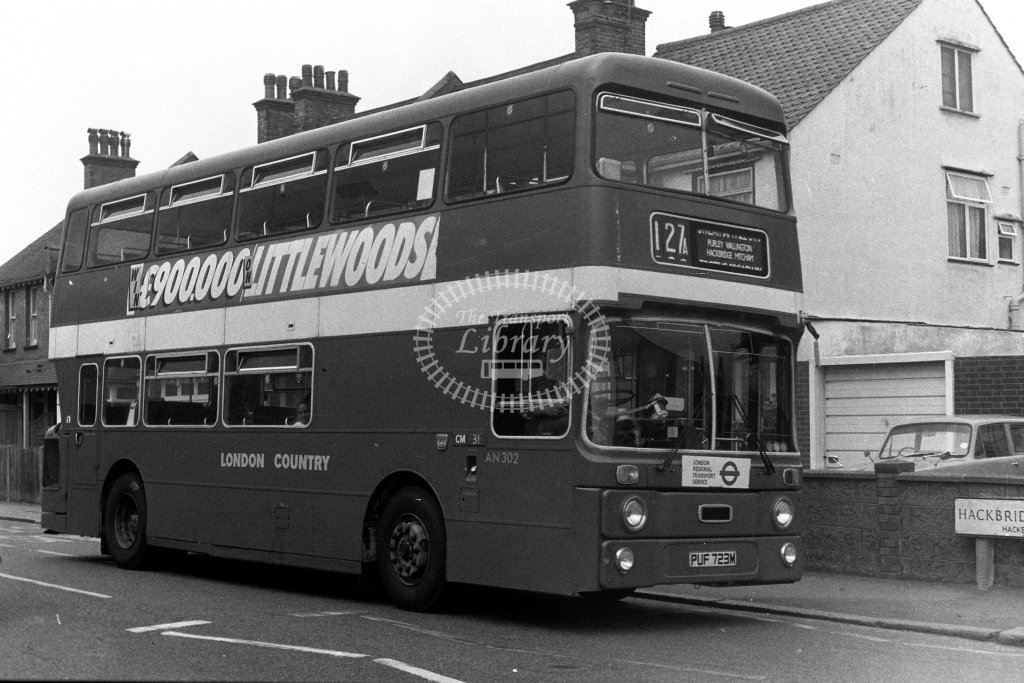 London Country Leyland Atlantean AN302 PUF723M  on route 127A  at Hackbridge  in 1980s - JGS Smith