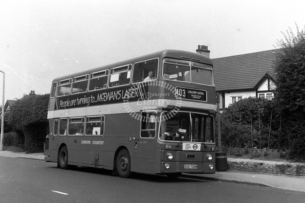 London Country Leyland Atlantean AN299 SCD733N  on route 403  in 1980s - JGS Smith
