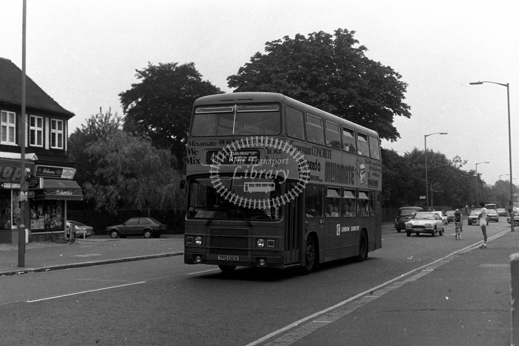 London Country Leyland Olympian LR30 TPD130X  on route 411A  in 1980s - JGS Smith