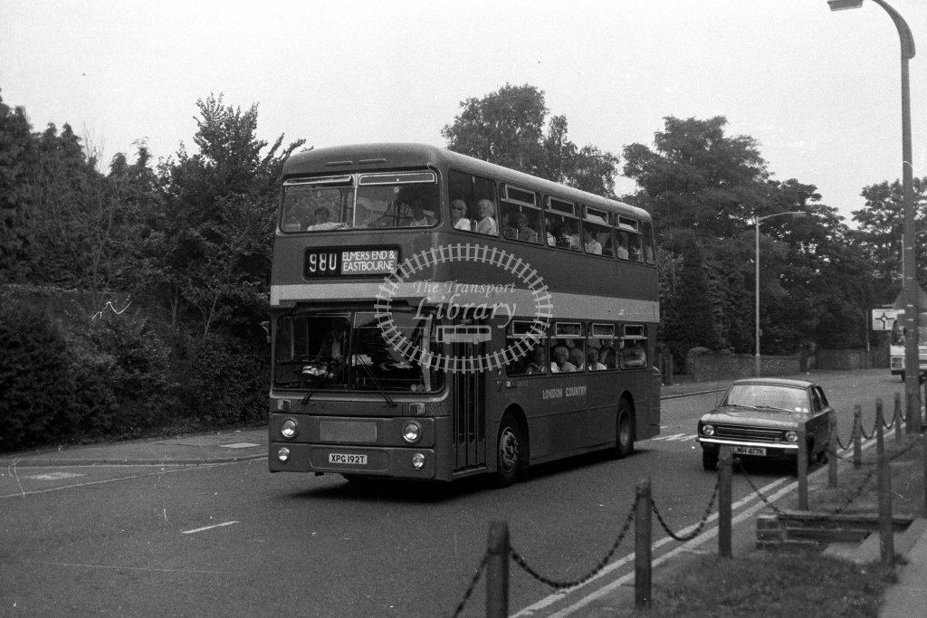 London Country Leyland Atlantean AN192 XPG192T  on route 980  in 1980s - JGS Smith