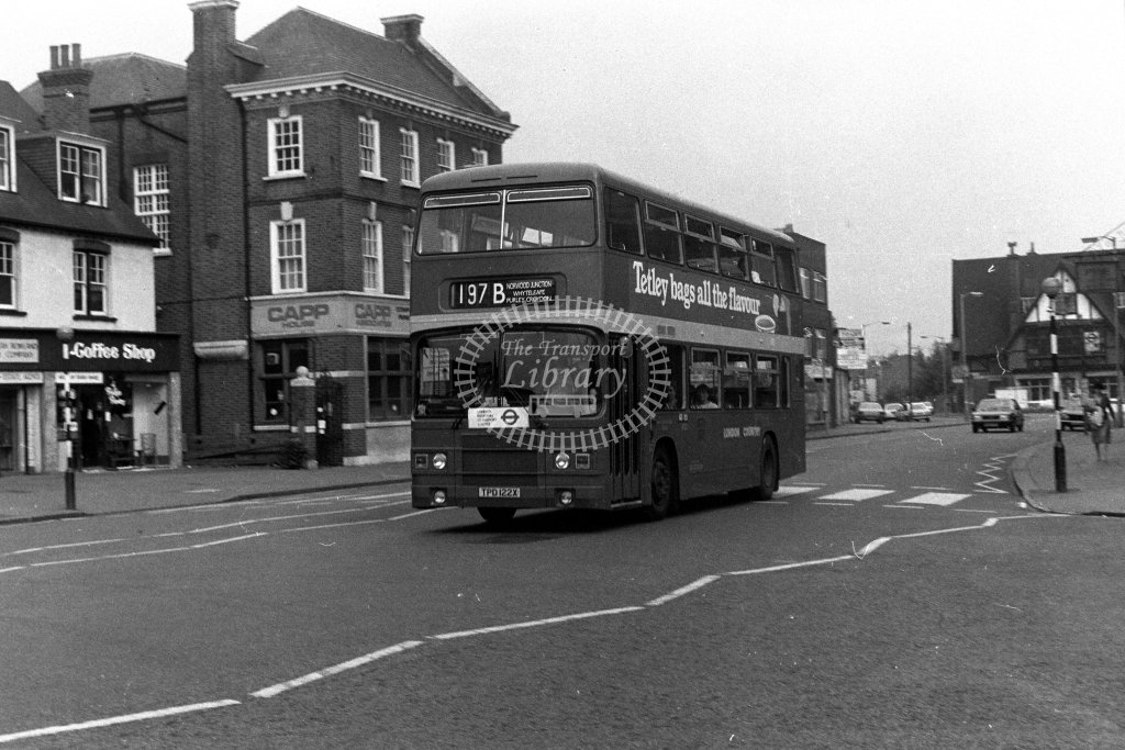 London Country Leyland Olympian LR22 TPD122X  on route 197B  in 1980s - JGS Smith