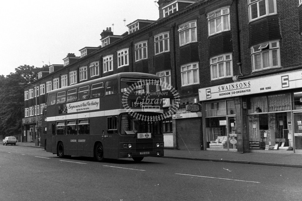 London Country Leyland Olympian LR24 TPD124X  on route 197B  in 1980s - JGS Smith