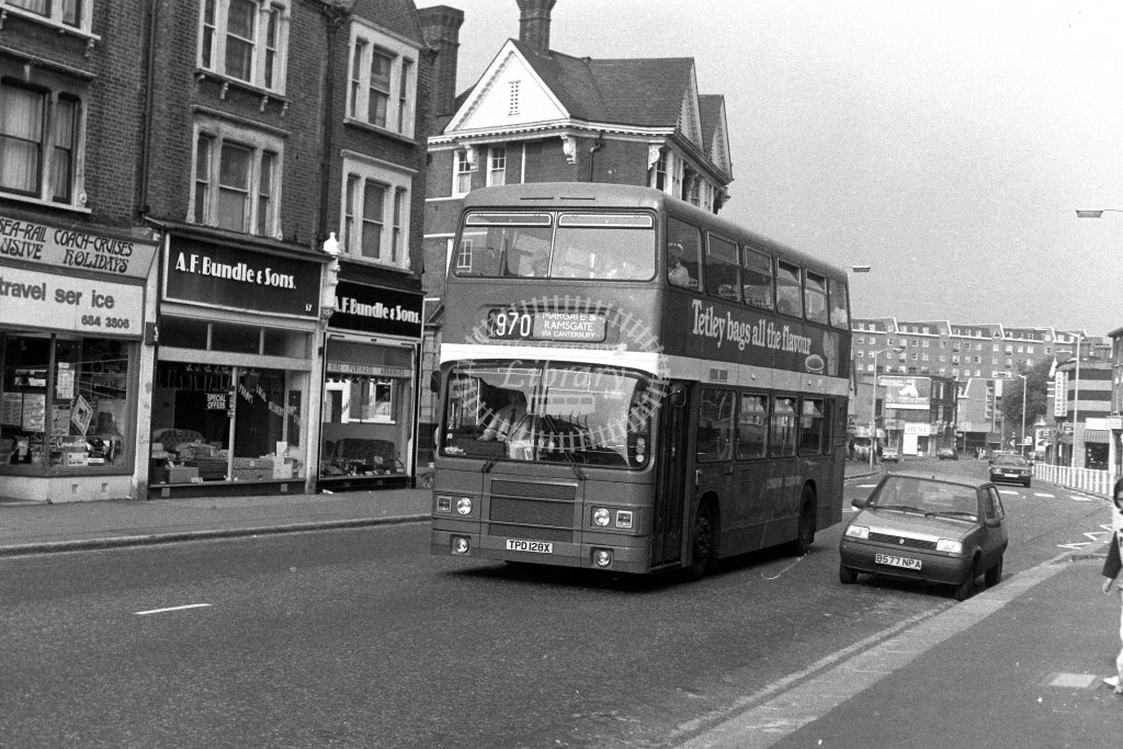 London Country Leyland Olympian LR28 TPD128X  on route 970  in 1980s - JGS Smith
