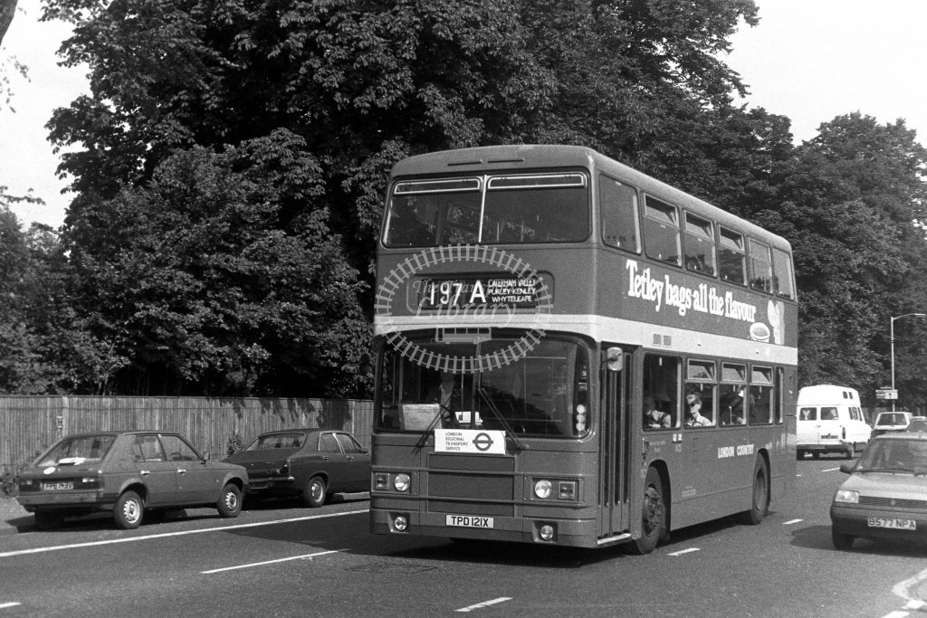 London Country Leyland Olympian LR21 TPD121X  on route 197A  in 1980s - JGS Smith