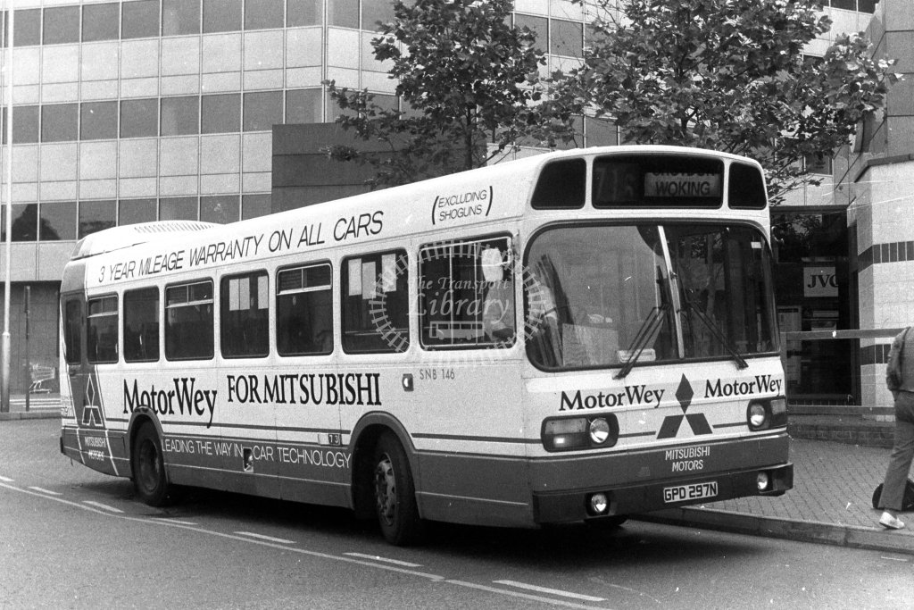 London Country Leyland National SNB146 GPD297N  on route 716  in 1980s - JGS Smith