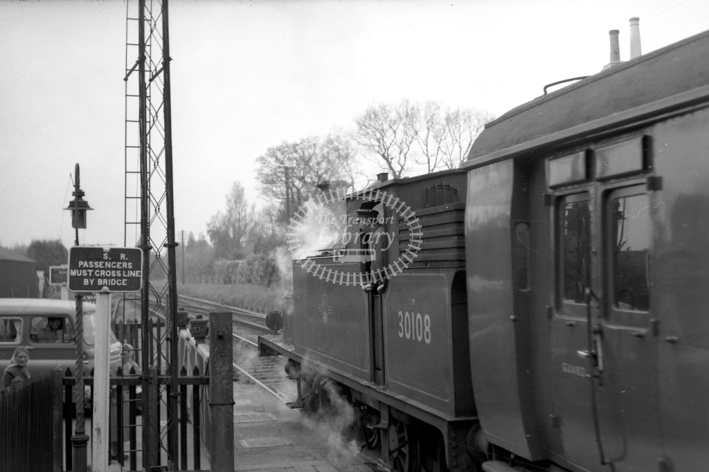 British Railways 30108 (LR) tn lvg West Moors 23/4/60 - James Harrold