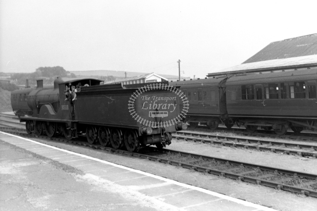 British Railways 30338 (LR) L/E running round at Padstow before going to the turntable 4/6/60 - James Harrold