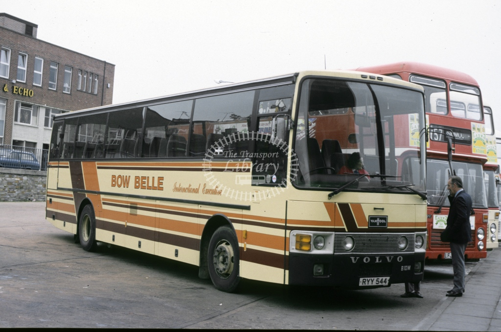 Phillips (Bow Belle), Crediton Volvo B10M RYY544  at Exeter bus station  in 1988 - Oct - J S Cockshott
