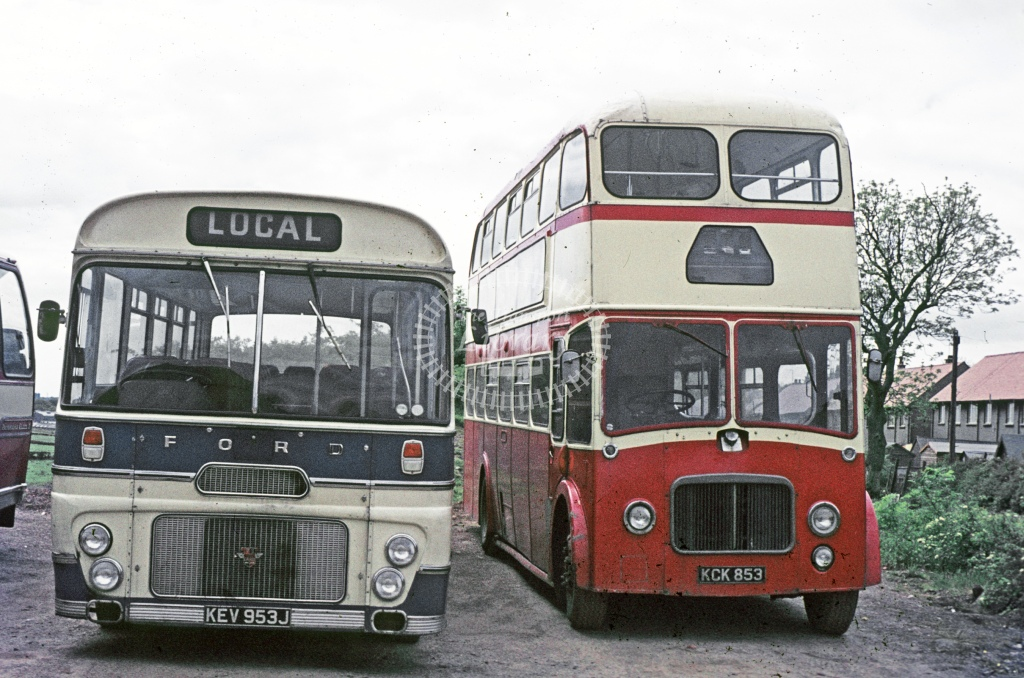 Paterson, Dalry Leyland PD3 KCK853  at operator's premises  in 1975 - May - J S Cockshott