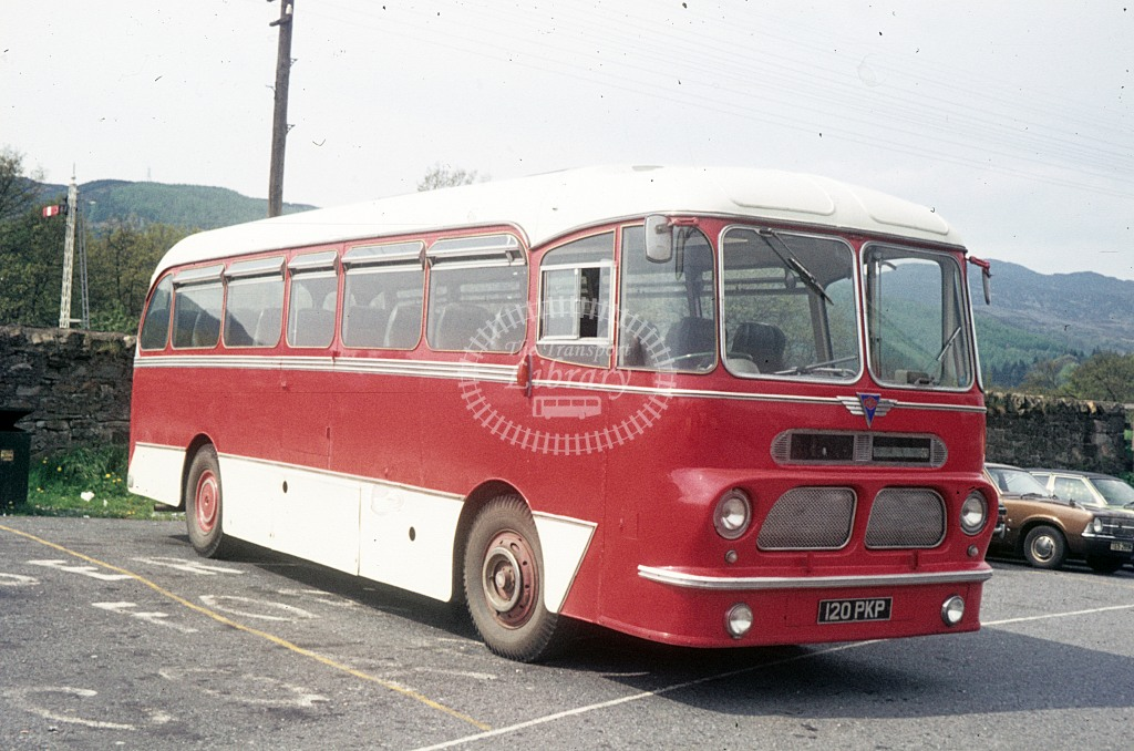 Yule, Pitlochry AEC Reliance  120PKP  at Pitlochry Visitor Centre  in 1975 - May - J S C Archive