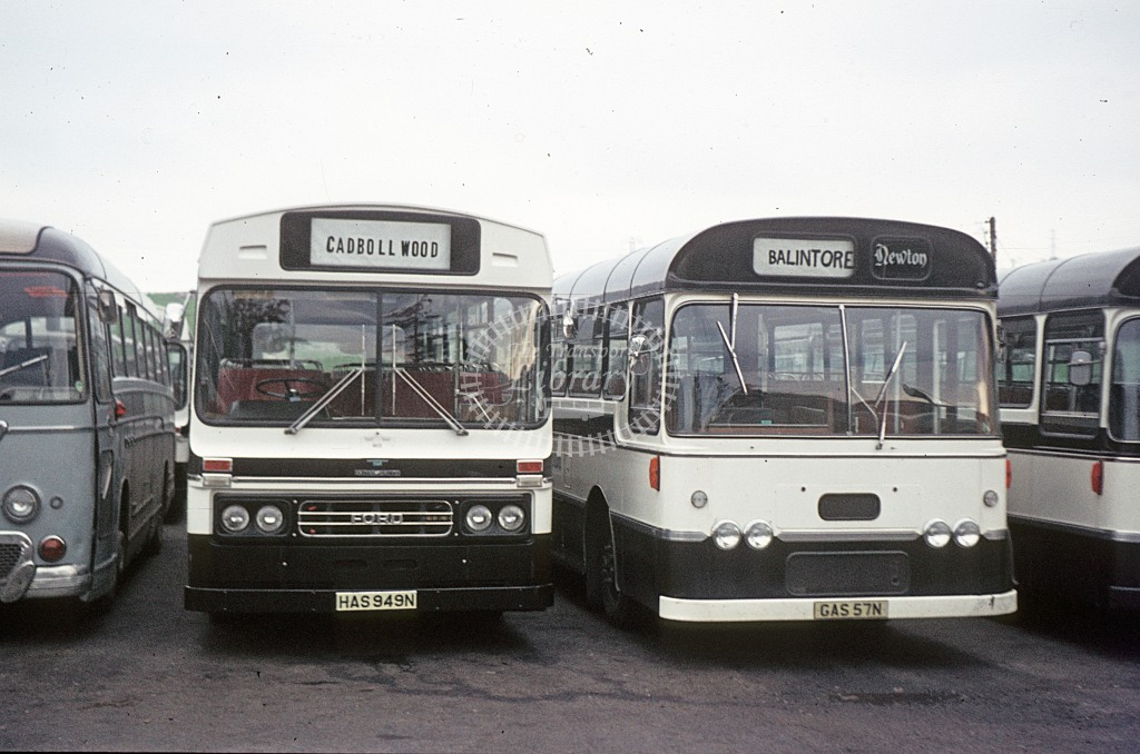 Newton, Dingwall Ford R1014, Bedford YRQ  HAS949N,GAS87N  at Inverness  in 1975 - Jun - J S C Archive