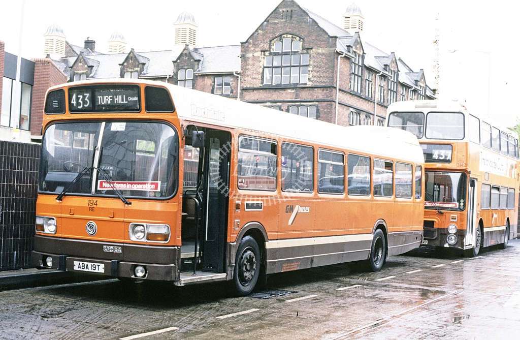 GM Buses Leyland National 194 ABA19T  at Rochdale depot  in 1987 - Jun - J S C Archive